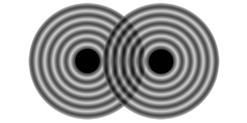 illustration of spherical waves with two point sources